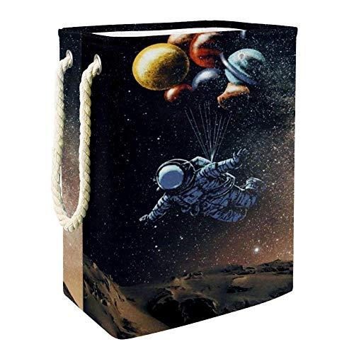NOBRAND Astronaut Wäschekorb für Wäschekorb, integriertes Futter mit abnehmbaren Klammern, faltbarer Wäschesammler für Spielzeug und Kleidung