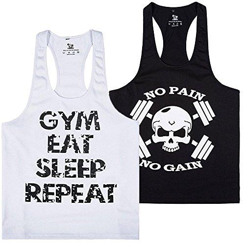 donhobo Tanktop Fitness Herren Sport Stringer Muskelshirt Gym Tank Top Bodybuilding Muscle Shirt Achselshirt(2pack2,XL)