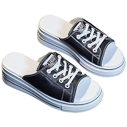 NOBRAND Zapatillas De Verano, Pantuflas Y Sandalias De Tacón De Cuña para Mujer Plataforma Ocasional de Moda Zapatillas Abrir-Punt (Color : Black, Size : 35)