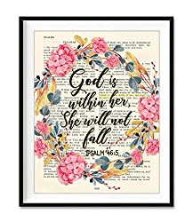 God is within her wall art with floral wreath