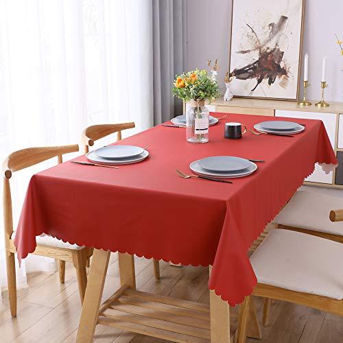 WELTRXE Tischdecke, PU Tischtuch Wasserabweisend und Ölabweisend, abwaschbar Tisch Decke, Tischwäsche Größe & Farbe wählbar 120×160 cm weihnachtsrot