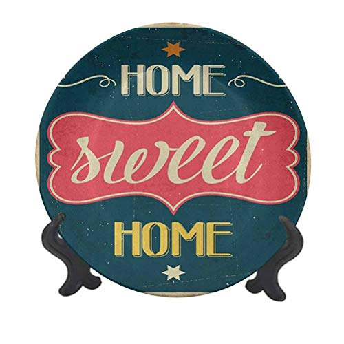 Home Sweet Home 6' Decorative Ceramic Plate,Weathered Looking Retro Sixties Style Sign Image with Motivational Phrase Decorative Ceramic Wall Plate for Pasta, Salad,Party Kitchen Home Decor