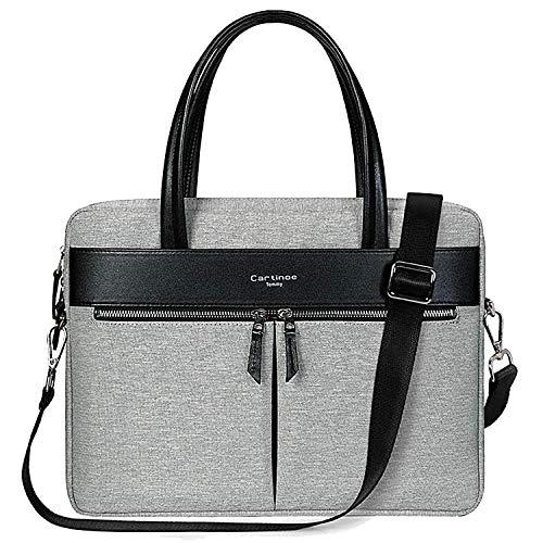 Cartinoe Women Laptop Briefcase Bag RFID Blocking Ultrathin Nylon Business Shoulder Messenger Bag Handbag For 15 inch Macbook Ultrabook For Ladies Grey
