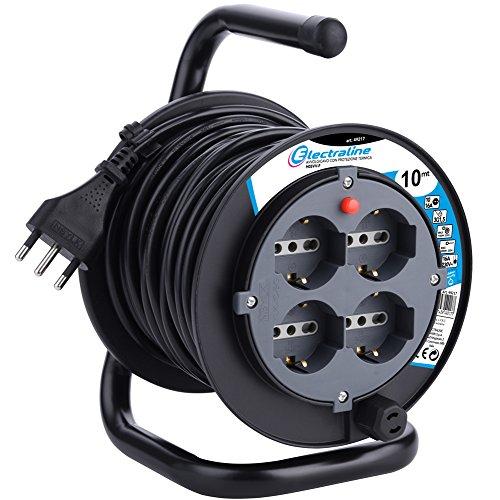 Electraline 49212 prolunga elettrica con avvolgicavo 10 mt 4 prese polivalenti (schuko + 10/16A) spina grande 16A, con protezione, nero - sezione cavo 3G1,5 mm²