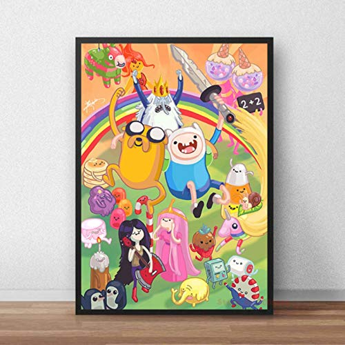 shuimanjinshan Adventure Time Cartoon Poster HD Printing Wall Art Printed Canvas Painting Wall Picture For Baby Nursery Bedroom Decor 40x50cm No Frame P-328