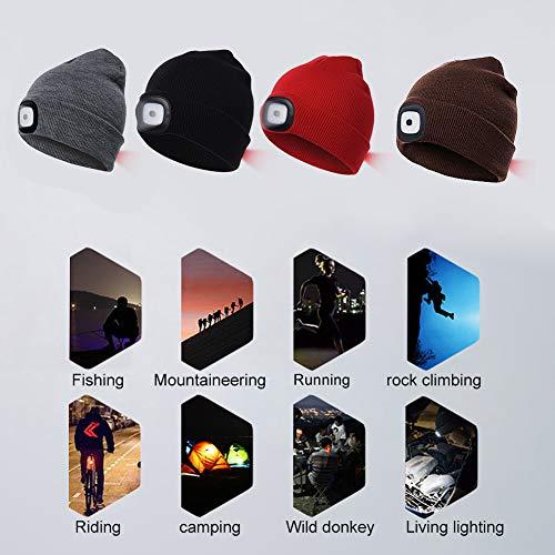 INHDBOX LED Mütze Kappe, Strickmütze mit USB Nachladbare Licht, Beleuchtung und blinkende Warnungs-Arten 8 LED, einfache Installation Vorne Hinten Scheinwerfer-Mütze, Winterwärmer-Strickkappe - 6