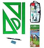 Faber Castell Pack Escolar Juego técnico 65021 escuadra, cartabón, Regla y semicírculo + 1 Compás MAPE Precision System 291010 + 12 Lapiceros Colores Alpino + Regalo