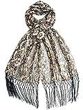 Bohomonde, Vera, Vintage Inspired Sequin Shawl, Evening Wrap, Embroidered Sequin Fringe Shawl or Scarf (Black/Rose Gold)