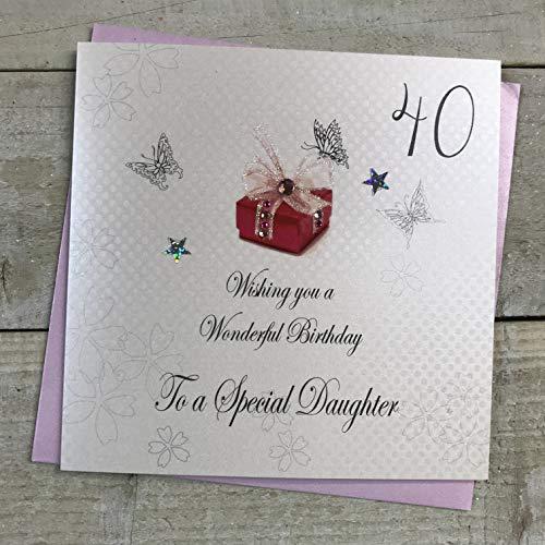 witte katoenen kaarten 40 Wishing You a Wonderful Special Handmade Verjaardagskaart (Dochter 40e)