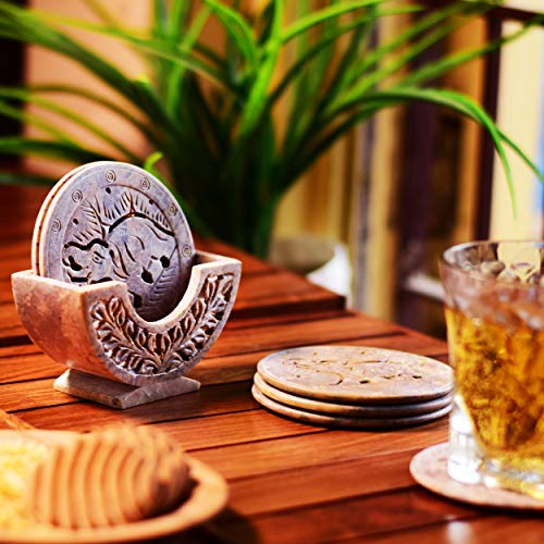 Hashcart Drink Coasters with Holder, Absorbent Coaster Sets of 6, Marble Stone Drink Coaster for Tabletop Protection, Suitable for All Kinds of Cups