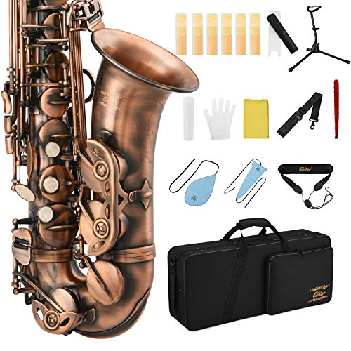 Eastar Alto Saxophone Antique Red Bronze Vintage Sax Eb E-flat Student Beginner Full Kit with Carrying Case Mouthpiece Straps Reeds Stand Cork Grease Cleaning Brush, AS-Ⅱ-Ab2