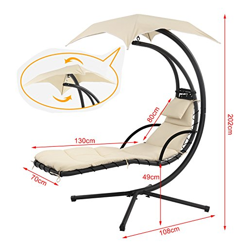 SoBuy OGS16 Schwebeliege mit Sonnenschirm Relaxliege Schwingliege Schaukelliege Hängesessel Hängeliege Sonnenliege Belastbarkeit 120kg beige - 4