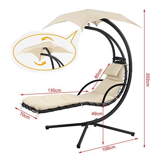 SoBuy OGS16 Schwebeliege mit Sonnenschirm Relaxliege Schwingliege Schaukelliege Hängesessel Hängeliege Sonnenliege Belastbarkeit 120kg beige - 7