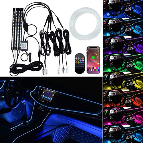 Interior Car Lights, AKEPO RGB Fiber Optic Ambient + Under Dash Car Lighting Kits Waterproof with Remote Control, APP Control, Music Sync Mode, DIY Mode for Cars, Trucks, SUVs