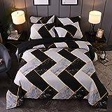 Lanqinglv Bettwäsche Geometrisch Schwarz 135x200cm 2 Teilig mit Reißverschluss Renforce Marmor Muster Bettbezug Deckebezug und Kissenbezug 80x80cm (02,135)