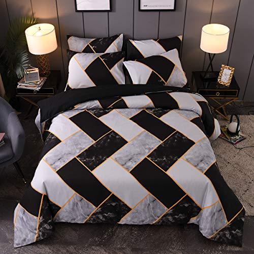 Luofanfei Bettwäsche Set Marmor Muster Schwarz Grau und Weiß, Einzelbett 135×200 cm+80×80 cm, Microfaser mit Geometrisches Kariert Muster Wendebettwäsche Bettbezug (JXSW-135X200 cm)