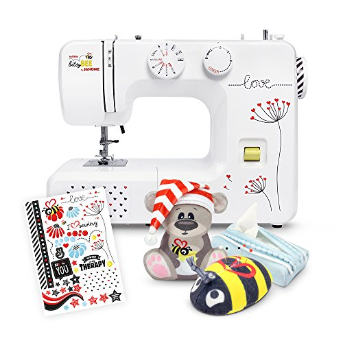 Anfänger Nähmaschine kullaloo bitsyBEE by JANOME inkl. Dreiteiligem Nähset & Stickern - 5 Jahre Herstellergarantie