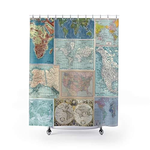 Ad4ssdu4 Duschvorhang, Landkarte Collage, viele Karten, Blau