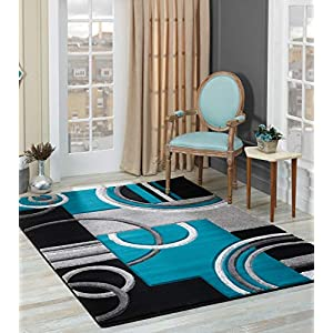 GLORY RUGS Area Rug Modern 5×7 Turquoise Soft Hand Carved Contemporary Floor Carpet with Premium Fluffy Texture for Indoor Living Dining Room and Bedroom Area