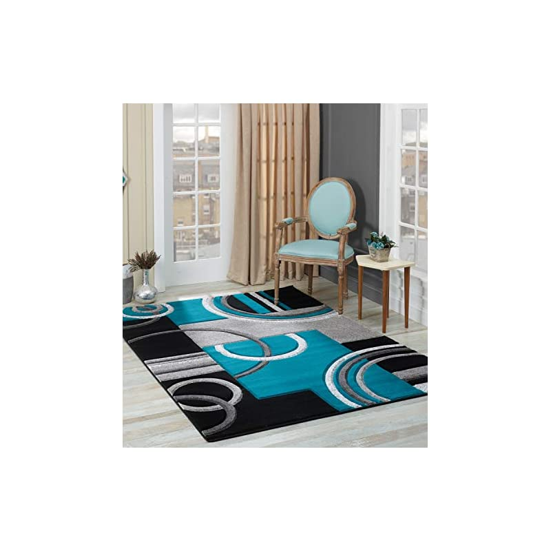 silk flower arrangements glory rugs area rug modern 5x7 turquoise soft hand carved contemporary floor carpet with premium fluffy texture for indoor living dining room and bedroom area