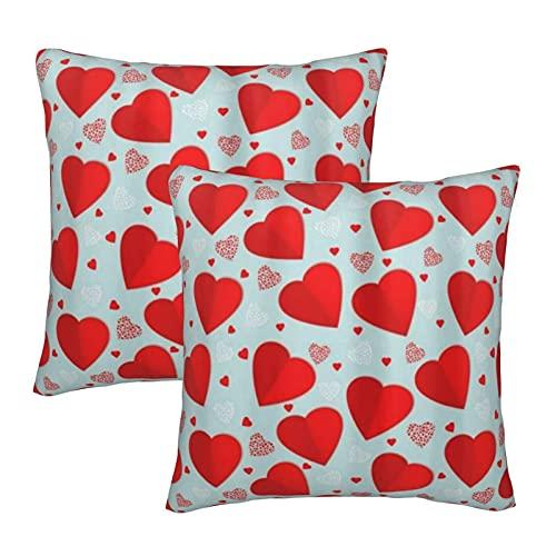 COVASA Funda de Almohada de poliéster Suave y cómoda,Estampado de corazón de Amor Rojo,2 Piezas de Funda de Almohada Cuadrada para decoración de sofá y Ropa de Cama