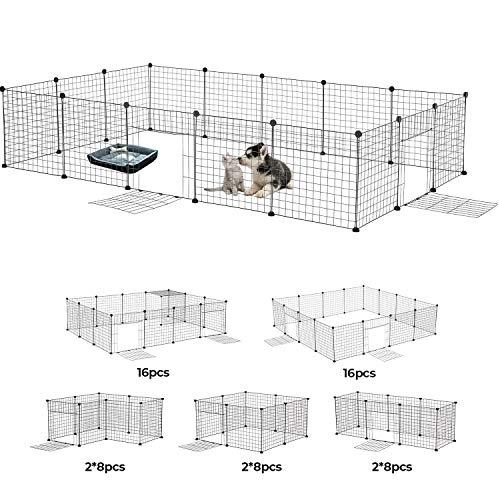 MSmask 16 pcs (50 x 50 cm/pc) DIY Welpenauslauf aus Metall mit Tür, Erweiterbar, Freigehege Welpenzaun Haustier Laufstall für Welpe, Meerschweinchen, Kaninchen, Käfig