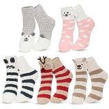 Kordear Calcetines de invierno para mujer - Calcetines de suelo acogedores - Calcetines de forro polar coral [Animal-b - Talla única]