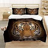 Textiles para el hogar Juego de Cama de Lujo 3D con Estampado de Tigre Tamaño Grande 2/3 Edredones Fundas de Almohada Decoración de Dormitorio Ropa de Cama 200x200cm 3