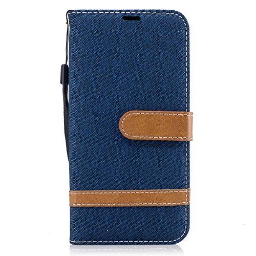 ISAKEN Funda para Samsung Galaxy J5 2017, Canvas Lona Cartera Fundas de PU Cuero Leather Wallet Case Carcasa Funda con Portátil Correa función de Soporte para Samsung Galaxy J5 2017 (Lienzo Turquí)