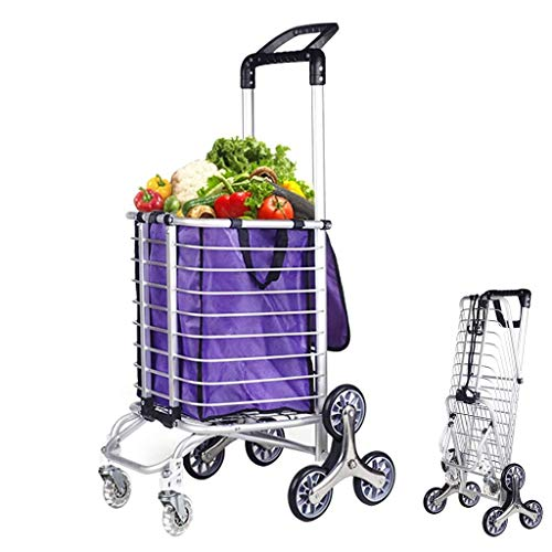 Shopping cart Lichtgewicht aluminium voedsel kar mand, vouwen zes wielen trolley for thuis klimmen, met zwenkwielen en afneembare waterdichte tas, for op reis Lichtgewicht winkelwagentje