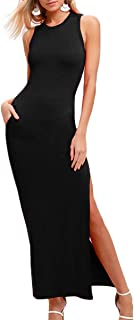 Privathinker Women's Sexy Summer Bodycon Sleeveless Side Slit Long Maxi Club Dress with Pockets