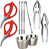 Seafood Tools Set for 2 - Seafood Scissors, Lobster Crackers, Seafood Forks and Butter Cups -...