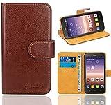 FoneExpert® Huawei Y625 Handy Tasche, Wallet Hülle Flip Cover Hüllen Etui Ledertasche Lederhülle Premium Schutzhülle für Huawei Y625 (Braun)