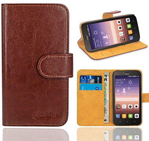 Huawei Y625 Handy Tasche, FoneExpert® Wallet Hülle Flip Cover Hüllen Etui Ledertasche Lederhülle Premium Schutzhülle für Huawei Y625 (Braun)