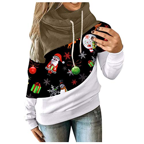 SALIFUN Women Hooded Sweatshirts Santa Claus Print Patchwork Funnel Neck Long Sleeve Pullover Hoodies Shirt Blouse Tops