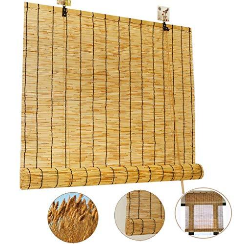 Persianas enrollables-cortina de bambú- persianas de láminas, persianas de paja resistentes lluvia / que filtran la luz, cortinas decorativas, impermeables y transpirables, para exteriores/interiore