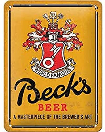 Nostalgic-Art Cartel de Chapa Retro Beck's – World Famous – Idea de Regalo para los Aficionados a la Cerveza, metálico, Diseño Vintage, 15 x 20 cm