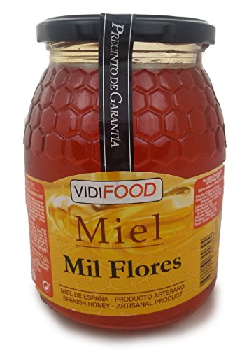 Miel de Mil Flores - 1kg - Producida en España - Alta Calidad, tradicional & 100{8122bd554c578f189d77af1ee036e9e78ff80fc5154d8b6c24a9b33d84f1d0b6} pura - Aroma Floral y Sabor Rico y Dulce - Amplia variedad de Deliciosos Sabores