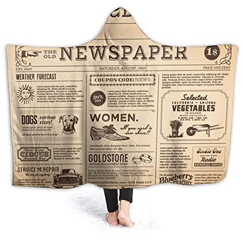 N \ B Manta de forro polar de franela suave con capucha para periódicos viejos para todas las estaciones para cama, sofá, sofá de 60 x 50 pulgadas para adolescentes