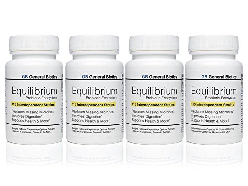 Equilibrium Probiotic Probiotika Supplement with Prebiotic - Daily Time Release - 120 Effective Easy To Swallow Capsules - Highest Strain Count In The World - 4 Bottles