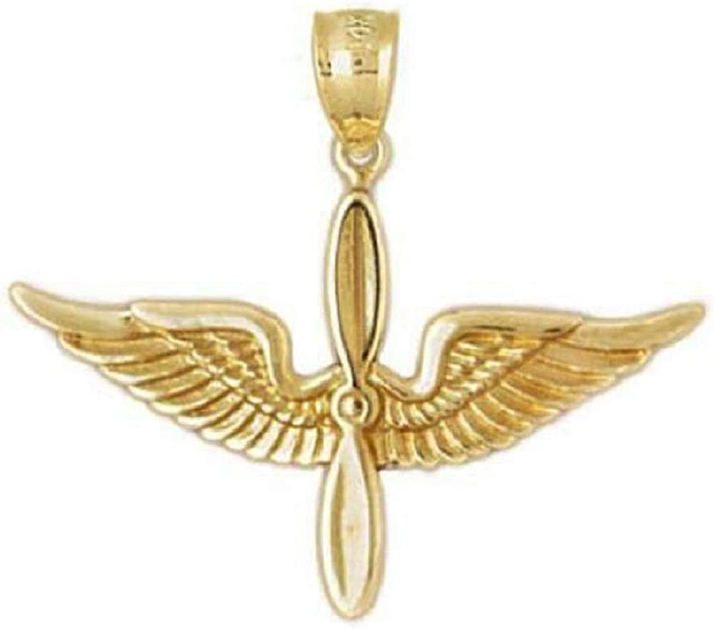 SURANO DESIGN JEWELRY 14k Yellow Gold US Army Aviation Air Force Pilot Wing Pendant, Made in USA