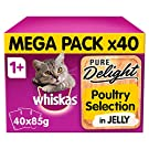 Whiskas Pure Delight Wet food pouches, delicious and tasty poultry selection in jelly, suitable for cats aged 1+, 40 x 85 g