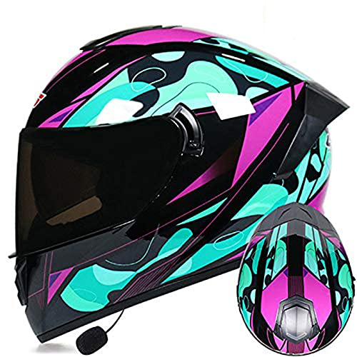 LVYE1 MRMF Cascos Moto Bluetooth Integrado Casco Moto Bluetooth Integrado Cascos De Moto Scooter con Doble Anti Niebla Visera Casco Integral ECE Homologado para Mujer Hombre Adultos,C,S