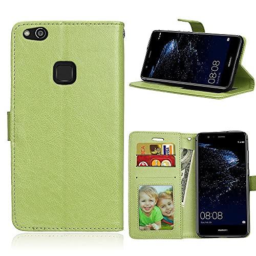 ShuiSu Funda con tapa para Huawei P10 Lite, cuero sintético de alta calidad brillante de silicona suave cierre magnético Kickstand bolsillos para tarjetas Shell protectora - Verde