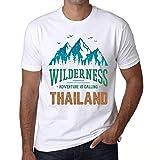 Hombre Camiseta Vintage T-Shirt Gráfico Wilderness Thailand Blanco