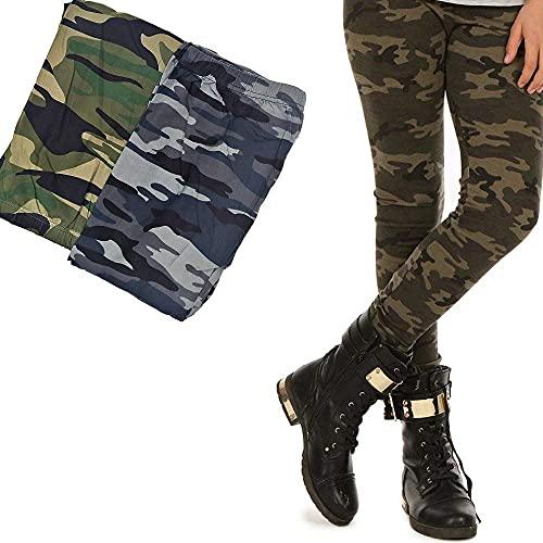 I00S00 Premium Leggings für Mädchen Tarn Camouflage Leggins Camo Kinder Hosen (134 Grau)