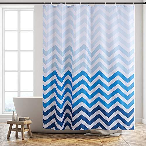 Furlinic Duschvorhang 180x200 Anti-schimmel in Badezimmer, Vorhang für Badewanne Dusche Wasserdicht, Textile Vorhänge aus Stoff Waschbar, Chevron Weiß Blau mit 12 Duschringe.