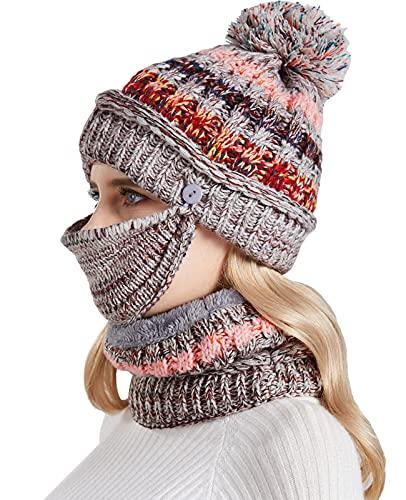 Nanxson 3 Piezas Conjunto de Gorros y Mascarilla Facial para Mujer Gorro de Lana Calentar Sombrero para Invierno MZW0162 (Gris)