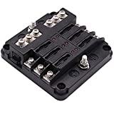 Boat Fuse Block W/Negative Bus, WUPP 6-Way Automotive Fuse Box Holder 30A Per Circuit with LED Warning Indicator & Durable Protection Cover for Car Marine DC 12-24V, Fuses Not Included