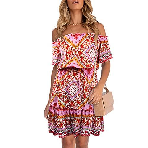 VisSec Damen Kleider Tunika Tshirt Off-Shoulder Kleid Kurzarm MiniKleid Flare Sleeve Sommerkleid Flare Sleeve für Damen Sommer Kleider...